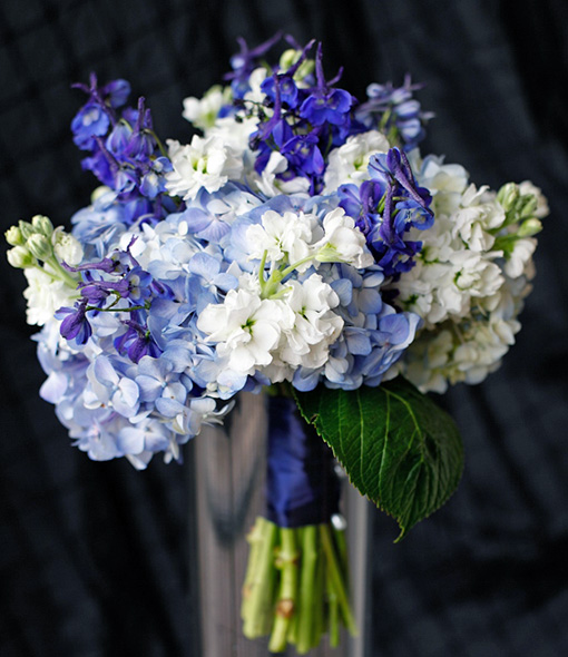 Blue Delphinium And White Hydrangea Wedding Bouquet Dream Bouquet
