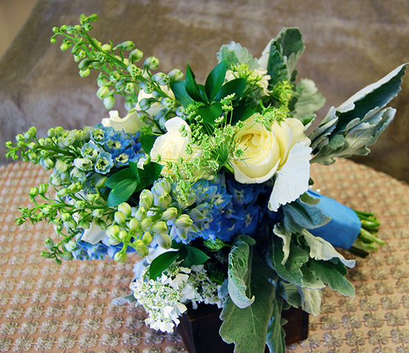 Blue and Green Wedding Bouquet