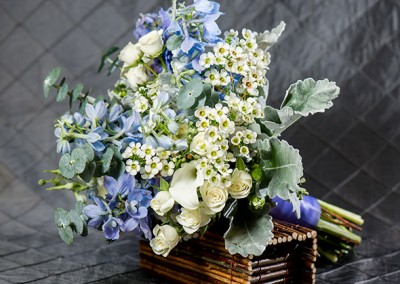 blue bouquet with eucalyptus
