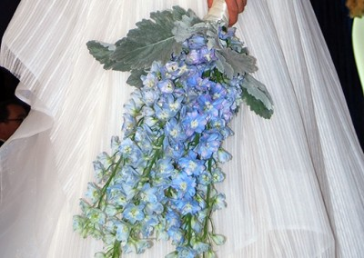 blue cascading wedding bouquet