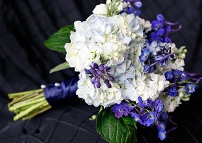 Blue Delphinium and White Hydrangea Wedding Bouquet