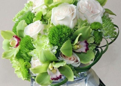 Bright Green vibrant Wedding Bouquet with White Roses