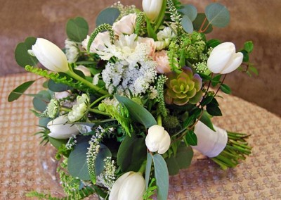 Green Wedding Bouquet with White Tulips